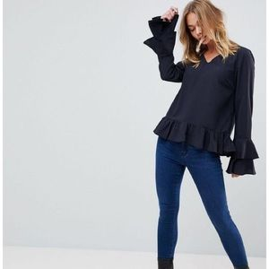 VILA clothing navy blouse with layered sleeves